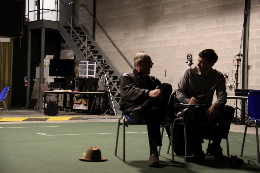 SIRT's Technology Supervisor/Director of Photography, Bert Dunk (left), talking with Peter Davey. (Photo credit: Amy Stubbs)
