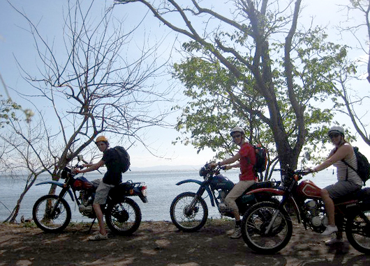 Riding with buddies on Ometepe Island made it a bit easier to bump start my bike, after the battery died unexpectedly.