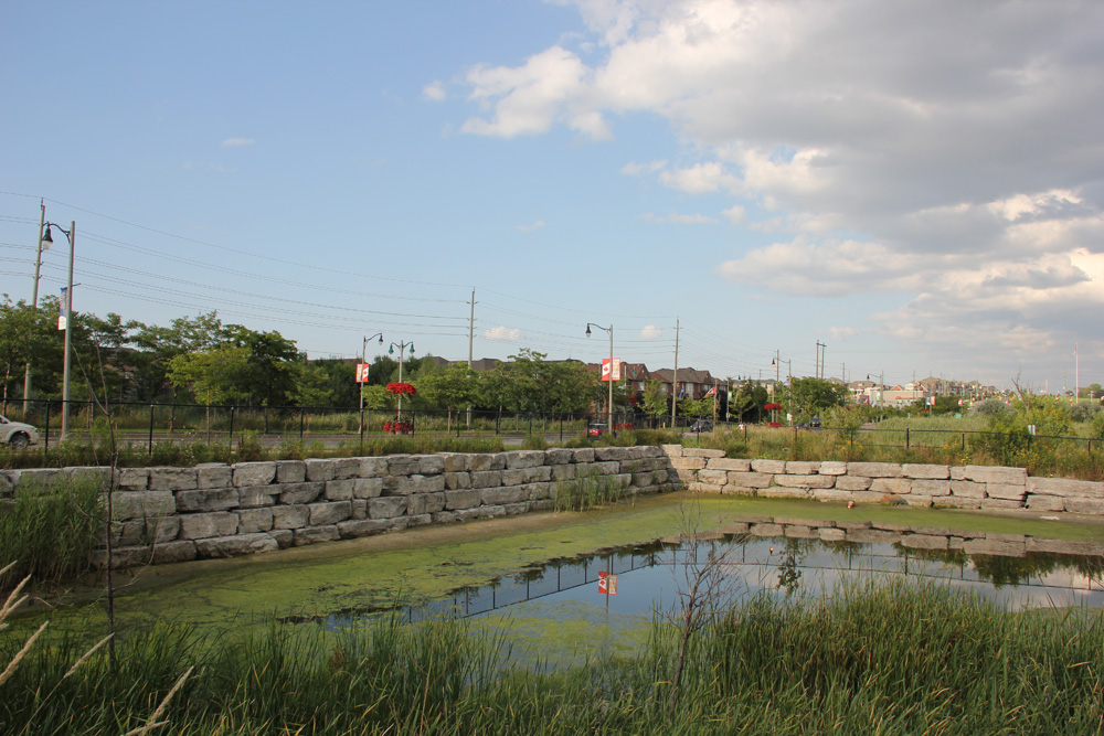 A recently upgraded stormwater pond at the corner of Wellington St. and Mary St. in Aurora